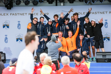 RORC photographer Paul Wyeth captures teams at the prizegiving as they express their joy after successfully completing the Rolex Fastnet Race - for many it will be their greatest personal challenge © Paul Wyeth/pwpictures.com