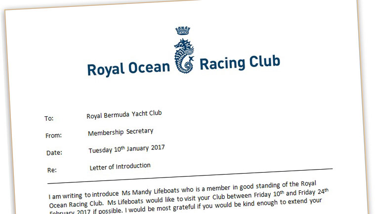 Letters of Introduction to other Yacht Clubs