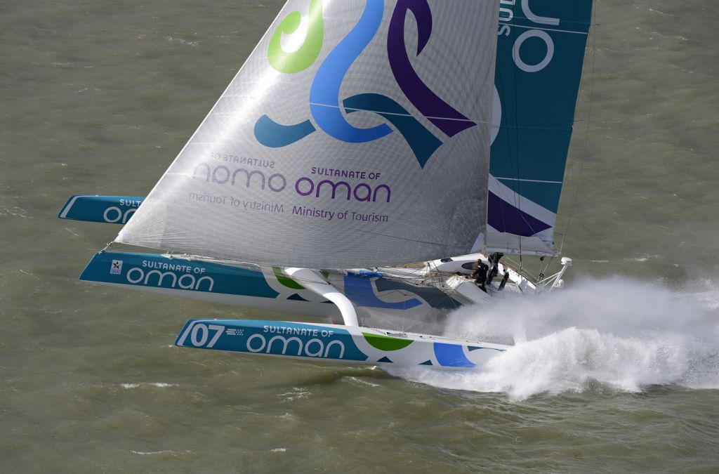 Photo credit: © Rick Tomlinson – caption: Claiming an outright record - The MOD70 Musandam-Oman Sail did not tack once as she sped around the outside of the low pressure system with the wind behind her!