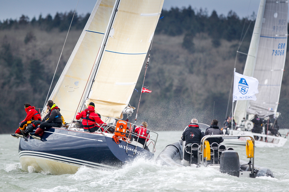 Harry J. Heijst's venerable S&S41 Winsome receiving coaching at the RORC Easter Challenge  © Paul Wyeth/pwpictures.com