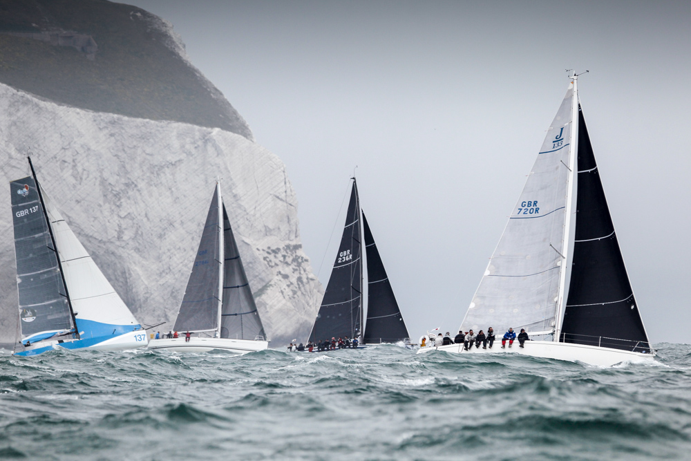 George David's Rambler 88 powers to windward, down the Solent at the start of the Royal Ocean Racing Club's Myth of Malham Race. Photo: RORC/Paul Wyeth