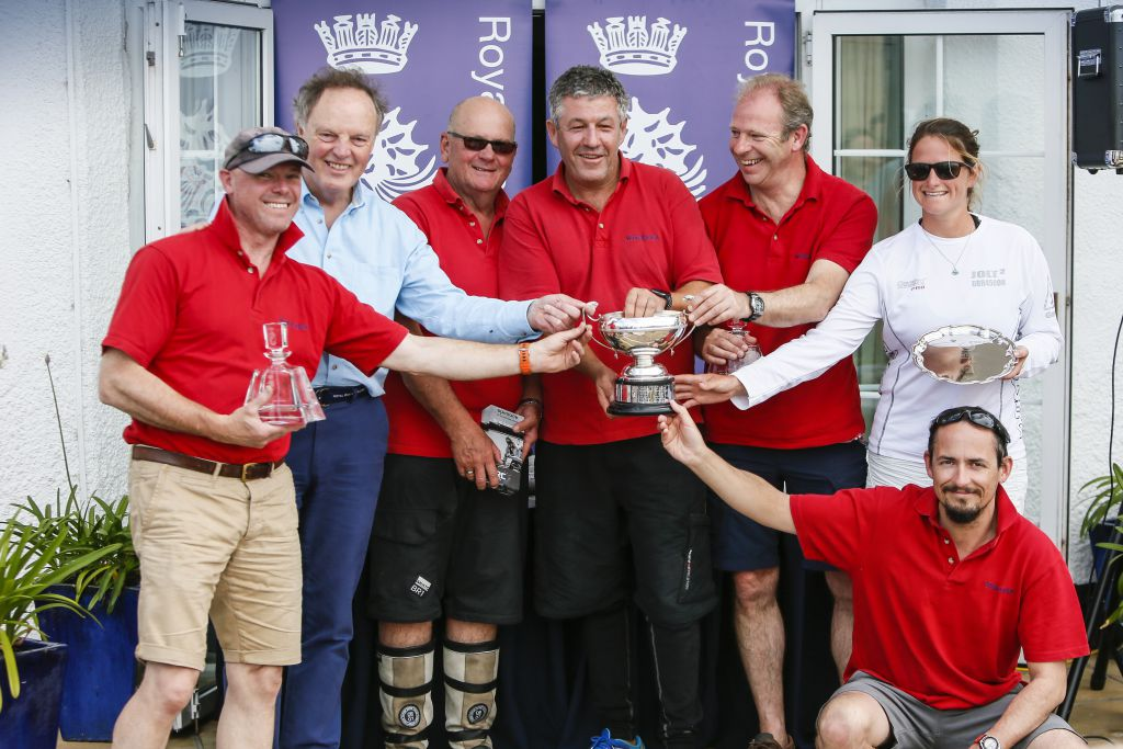 Giovanni Belgrano and his victorious crew of Whooper. Photo - Paul Wyeth pwpictures.com