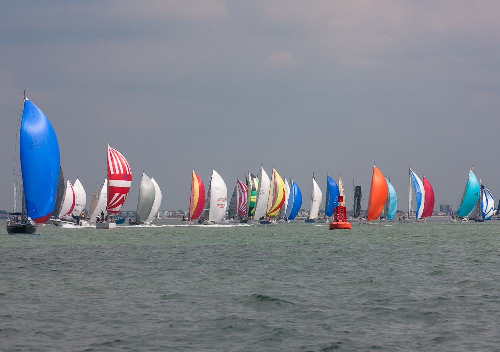 Royal Yacht Squadron Line start, within sight of the RORC Cowes Clubhouse © Hamo Thornycroft