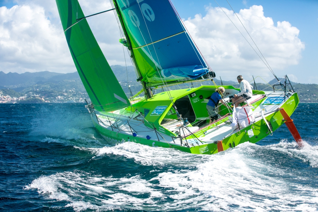 Campagne de France, the Mabire-Nivelt designed Class40. Miranda Merron who usually races double-handed with husband Halvard Mabire, is racing round for the 6th time. They will be joined by Pietro Luciani and Didier Le Vourch © Arthur Daniel