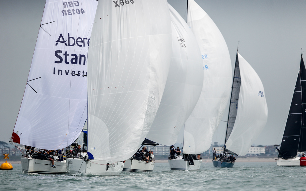 Light airs and tricky conditions in the central Solent on the first day of the IRC Europeans (incorporating the Commodores' Cup) saw the three classes completing one race in the week-long event © Paul Wyeth/pwpictures.com