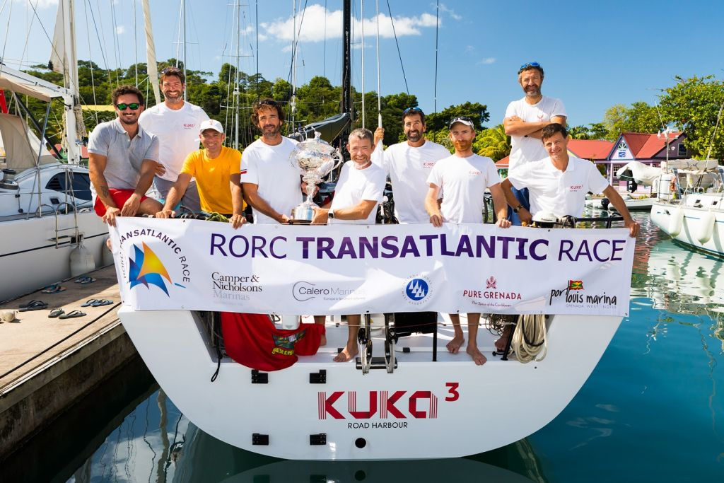 Overall winners of the 2018 RORC Transatlantic Race, Kuka3 © RORC/Arthur Daniel