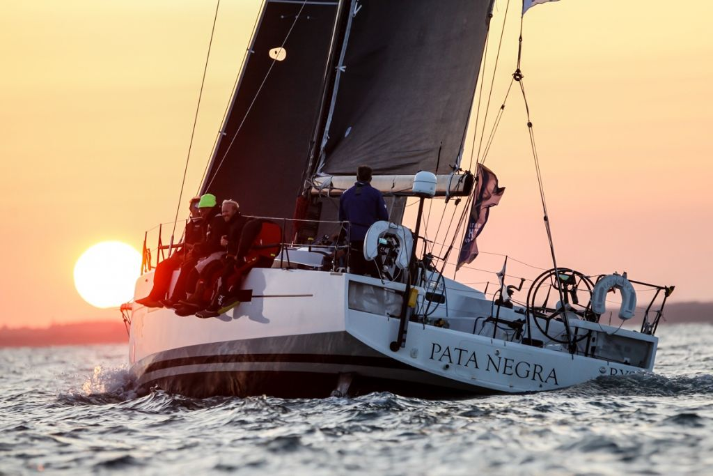 Finishing at sunset, Giles Redpath's British Lombard 46 Pata Negra secures IRC One and has set the time to beat under IRC for the overall win © Paul Wyeth/RORC