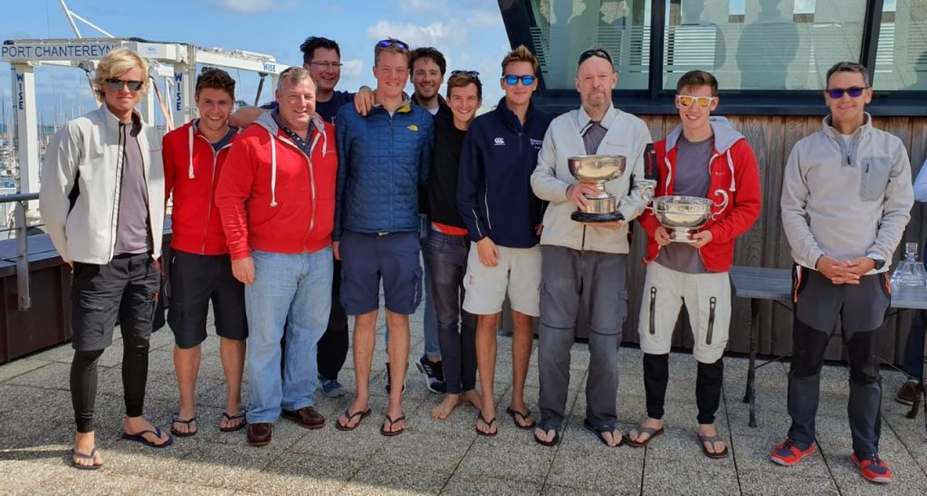 Prize Giving presentation by RORC Vice Commodore Nick Martin. Phosphorus II (L-R) : Oliver Hill, David Paul, Andrew James, Tom Barker, Matt Bird, Alex Curtis, Campbell Manzoni, Josh Dawson, Mark Emerson, Ian Emerson. Photo © Merlene Emerson