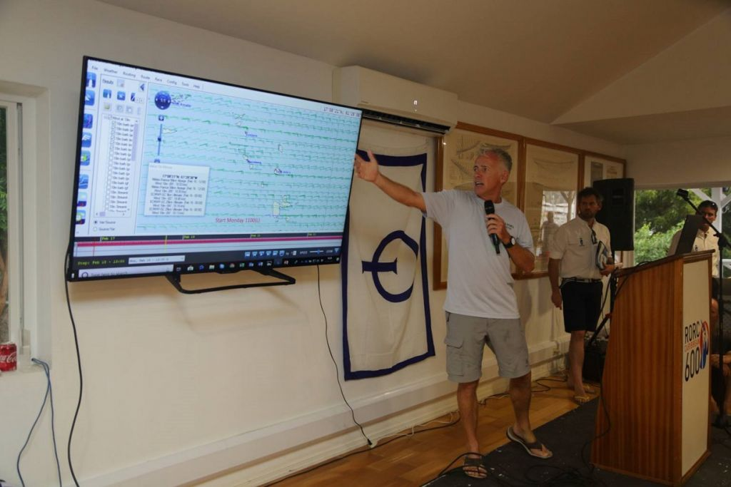 Andiamo's skipper Mike Broughton at a weather update held during the Skippers' Briefing © Tim Wright/Photoaction.com