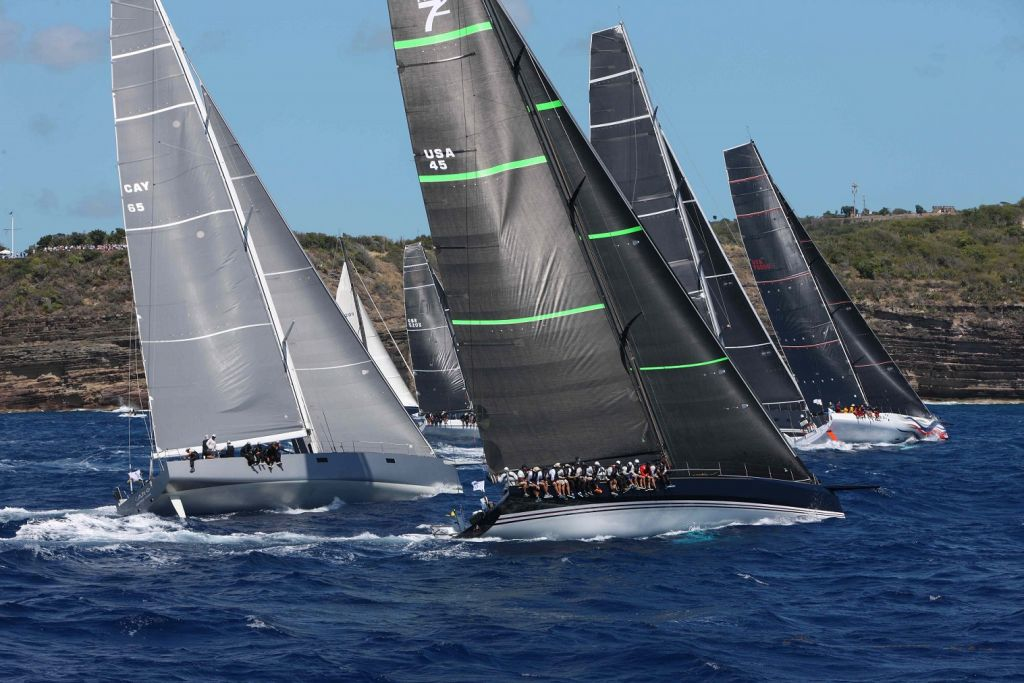 American Volvo 70 Wizard led the impressive IRC Zero fleet after the start of the 2019 race in Antigua and went on to win overall © RORC/Tim Wright/Photoaction.com