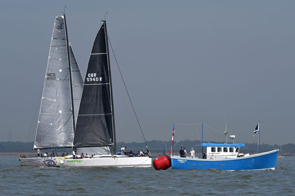 AP flag hangs limply on the Committee boat on day 1 of the RORC Easter Challenge. Picture: Rick Tomlinson