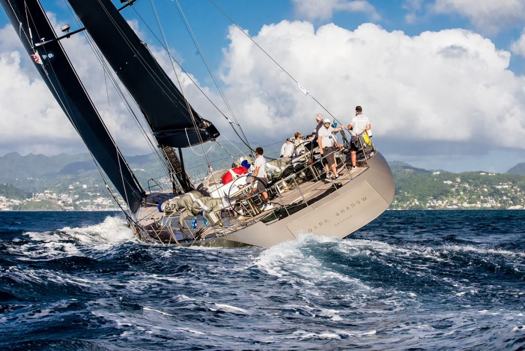 Dark Shadow approaching the finish line at Camper & Nicholsons Port Louis Marina, Grenada - Photo © RORC / Arthur Daniel