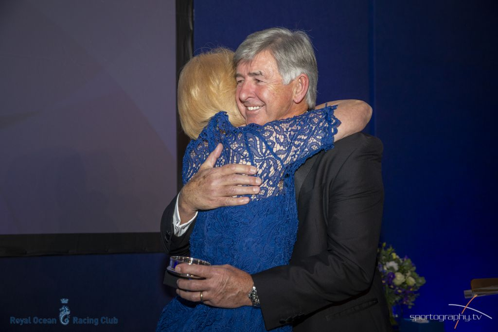 Eddie Warden Owen, RORC CEO congratulates Janet Grosvenor at the RORC Annual Awards © Sportography.tv