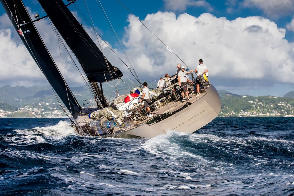 French Wally 100 Dark Shadow finishes the 2019 RORC Transatlantic Race in Grenada © Arthur Daniel