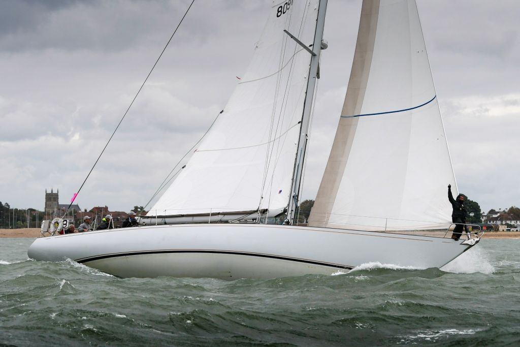 Chris Cecil-Wright's Nicholson 55s Eager, skippered by Richard Powell. Eager was the first Nicholson 55 launched when she was famously the Lloyd's of London Yacht Club's Lutine © Martin Allen/pwpictures.com