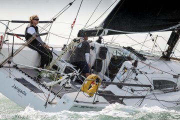 Overall leaders in the IRC Two-Handed Championship - Jeremy Waitt sailing with double Olympic gold medallist Shirley Robertson on Richard Palmer's JPK 10.10 Jangada © Paul Wyeth/pwpictures.com