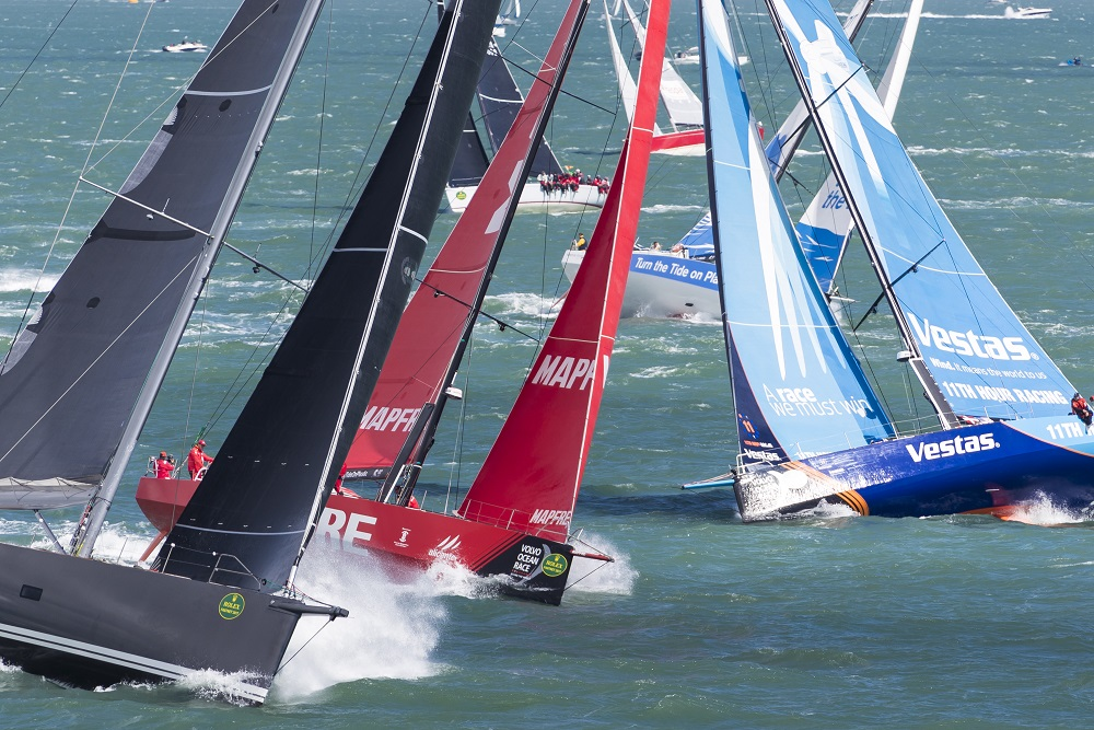 Volvo Ocean Race boats at the start of the 2017 Rolex Fastnet Race © Carlo Borlenghi